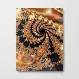 Toffee and Caramel Golden Brown Spiral Mandelbrot Set Fractal Art  Metal Print