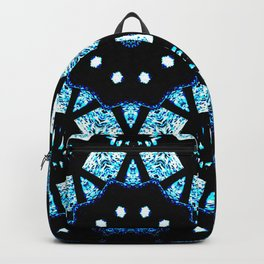 Blue Black Mosaic Kaleidoscope Mandala Backpack