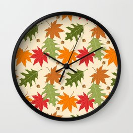 Fall Color decor Autumn leaves and Acorns Wall Clock