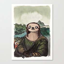 The Mona Sloth  Canvas Print