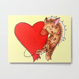 Heart Giraffe Metal Print