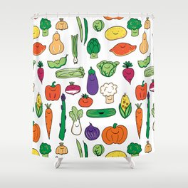 Cute Smiling Happy Veggies on white background Shower Curtain