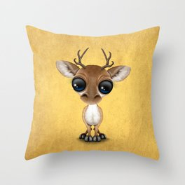Cute Curious Baby Deer Calf with Big Eyes on Yellow Throw Pillow