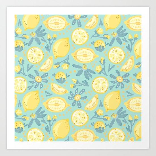 Lemon Pattern Mint Art Print