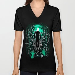 Slender Man (sea green color) Unisex V-Neck