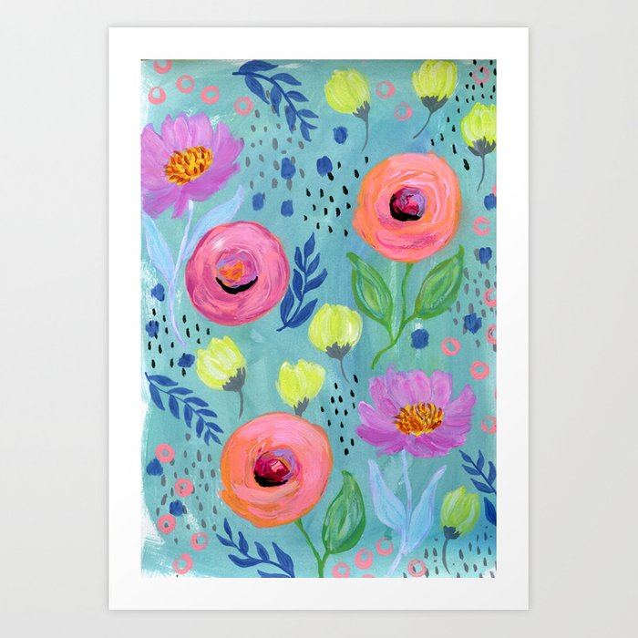 Floral pattern painting coral flowers yellow flowers peach floral pattern painting coral flowers yellow flowers peach flowers blue wall art mightylinksfo
