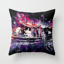 old ship boat wreck ws fn Throw Pillow