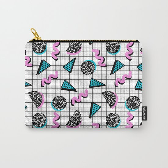 It's Casual - memphis throwback retro neon squiggle grid shapes geometric black and white modern art Carry-All Pouch