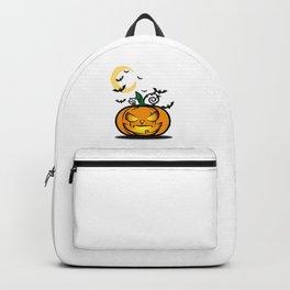Halloween Pumpkin And Bats Fly In Moonlight Backpack