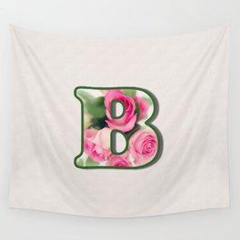 Letter B Rose Monogram Wall Tapestry