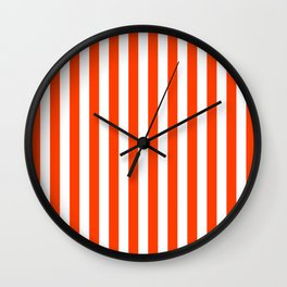 Orange Pop and White Vertical Cabana Tent Stripes Wall Clock