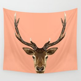 Stag Head // Peach / Apricot Wall Tapestry