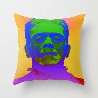 frank Throw Pillows featuring Frank  by Nikki Hung