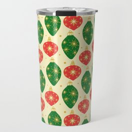 Vintage Festive Hand-painted Christmas Tree Ornaments with Beautiful Acrylic Texture, Green and Red Travel Mug