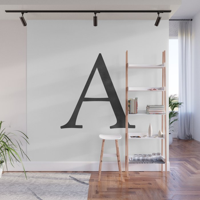 Letter A Initial Monogram Black and White Wall Mural