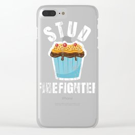 Funny Stud Muffin Firefighter Husband product Clear iPhone Case