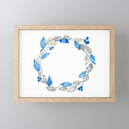 Blue and Gray Watercolor Leaf Wreath Framed Mini Art Print