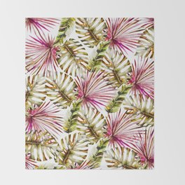 Modern tropical hot pink green watercolor palm tree Throw Blanket