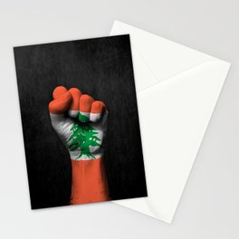 Lebanese Flag on a Raised Clenched Fist Stationery Cards