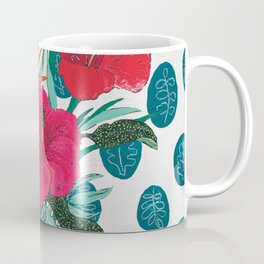 Tropical Bouquet in Living Coral and Emerald Green Coffee Mug