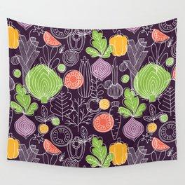 Vegetable Pattern Scandinavian Design Wall Tapestry