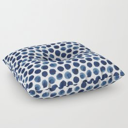 Large Indigo/Blue Watercolor Polka Dot Pattern Floor Pillow