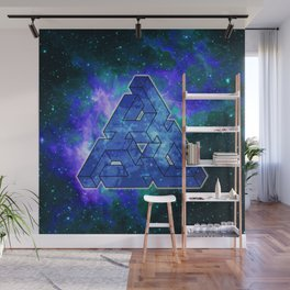 Triangle Blue Space With Nebula Wall Mural
