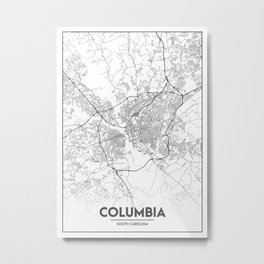 Minimal City Maps - Map Of Columbia, South Carolina, United States Metal Print
