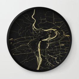 Prague Black and Gold Map Wall Clock
