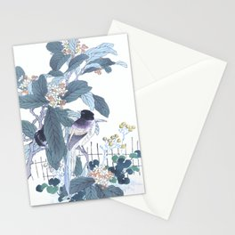 Kono Bairei - Azure Winged Magpies On Blossomed Loquat Tree - Antique Japanese Woodblock Print Art  Stationery Cards