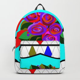 A Stained Glass Shield with Roses and Red Ribbon Backpack