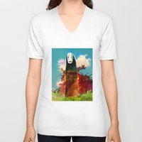chihiro V-neck T-shirts featuring no face by ururuty
