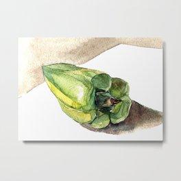 Watercolor green pepper Metal Print