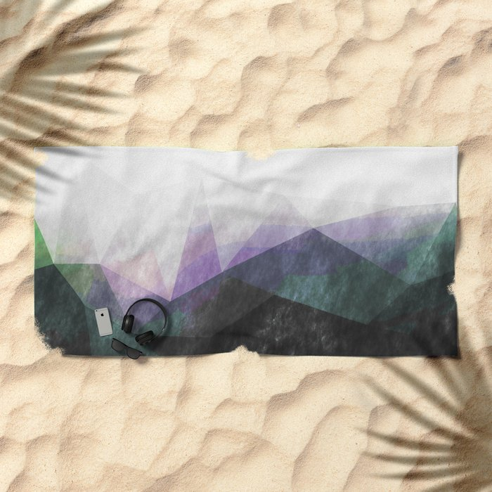 On the mountains - green watercolor - triangle pattern Beach Towel