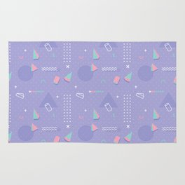 Retro geometrical lavender purple coral teal 80's pattern Rug