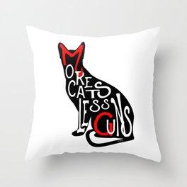 More Cats Less Guns™ Throw Pillow