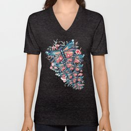 Rose Gold Dragonfly Garden | Pastel Unisex V-Neck