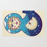 sun and moon Area & Throw Rugs featuring sun loves moon by Lidija Paradinović Nagulov - Celandine