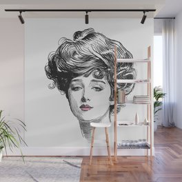 Gibson Girl with Green Eyes and Pink Lips Wall Mural