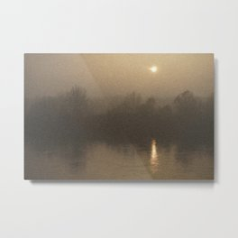 Impressionist Landscape Winter River with Fog and Sun Metal Print