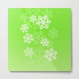 Cute green snowflakes Metal Print