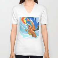 charizard V-neck T-shirts featuring Charizard by Pablo Rey