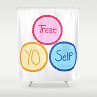treat yo self Shower Curtains featuring Treat Yo Self by Abby Mitchell