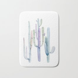 Minimalist Cactus Drawing Watercolor Painting Turquoise Cacti Bath Mat