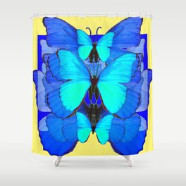 DECORATIVE BLUE SATIN BUTTERFLIES YELLOW PATTERN ART Shower Curtain
