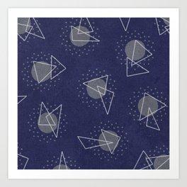 RANDOM ABSTRACT PATTERN BLUE Art Print
