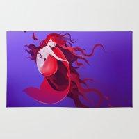 mermaid Area & Throw Rugs featuring mermaid by Alevan