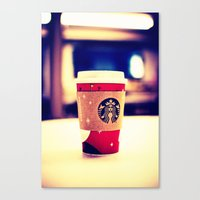 starbucks Canvas Prints featuring Starbucks  by Jo Bekah Photography