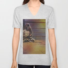Fine art watercolor painting of woman counting prayer beads at Wat in the city of Yangoon (Rangoon) Unisex V-Neck