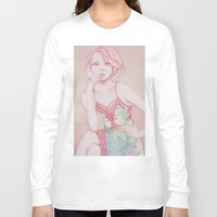 water colour Long Sleeve T-shirts featuring Water Colour Girl 2 by DeeDee Design